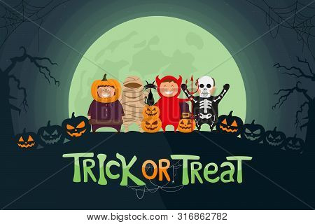 Happy Halloween Vector Illustration. Kids Dressed In Halloween Costume Ready To Go Trick Or Treat. S