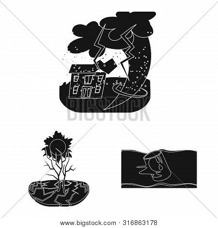 Vector Design Of Calamity And Crash Sign. Collection Of Calamity And Disaster Vector Icon For Stock.