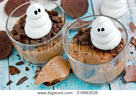 Halloween Dessert For Kids - Delicious Chocolate Mousse With Chocolate Cookie Crumbs And Meringue Gh