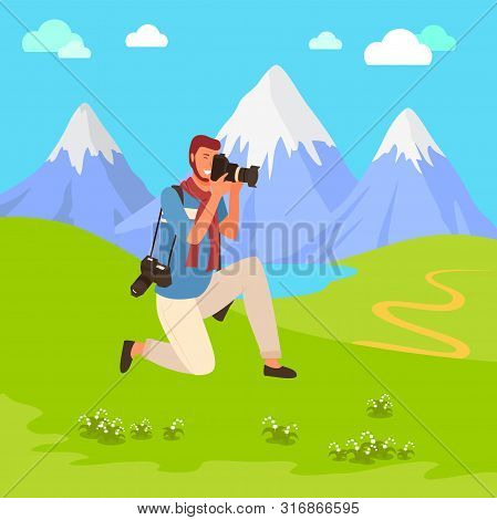 Man Photographer Shooting Nature, Landscape View. Photograph Character Holding Camera, Focusing And