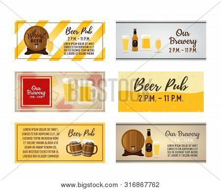 Vector Beer Labels, Ad Posters With Barrel And Tankards