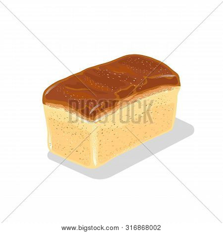Loaf Of Wheaten White Bread With Crackling Crust. Baked Product From Flour. Staple Food. Vector Cart