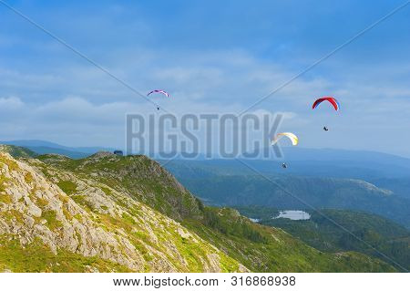 Beautiful Landscape With Paragliders Seen From The Mount Ulriken In Bergen, Norway, On August 4 2019