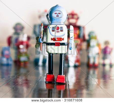 retro robot toy shallow deth of feild blured background