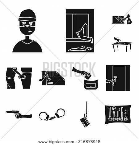 Isolated Object Of Robber And Villain Icon. Set Of Robber And Police Vector Icon For Stock.