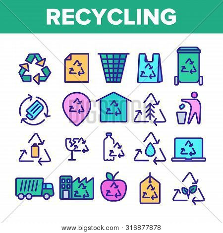Collection Recycling Thin Line Icons Set Vector. Recycling Sign On Location Gps Mark And File, Waste