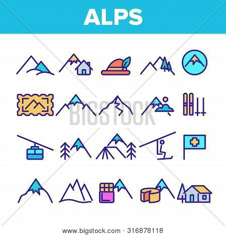 Color Mountain Alps Sign Icons Set Vector Thin Line. Cable Way, Funicular And House On Alps Hills An