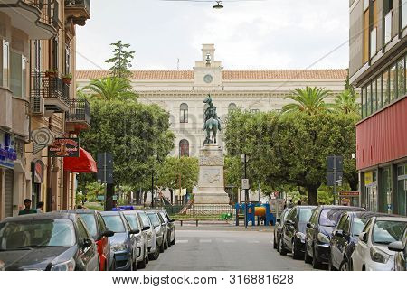 Bari, Italy - July 28, 2019: View Of Via Marcello Celentano With Bari University On The Background,