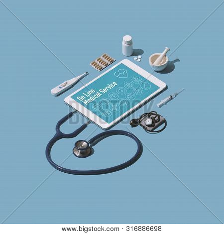 Online Healthcare Service And Telemedicine: Stethoscope Connected To A Mobile Device And Medical Equ
