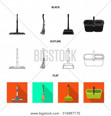 Vector illustration of cleanup and household symbol. Set of cleanup and washing vector icon for stock. poster