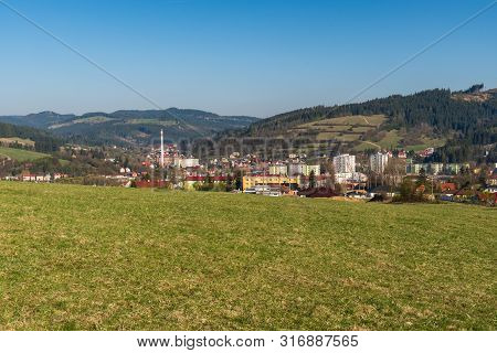 Turzovka Town With Hills Covered By Meadows And Forest Devastated By Timber Harvesting Around And Cl