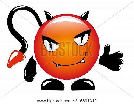 Cartoon Little Sly Devil Emoticon. Vector Illustration