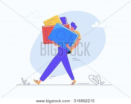 Young Man Carrying Heavy Book For School Or College Education. Flat Modern Concept Vector Illustrati