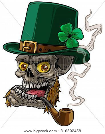 Cartoon Detailed Realistic Colorful Scary Irish Leprechaun Skull With Green Hat, Whiskers And Tobacc