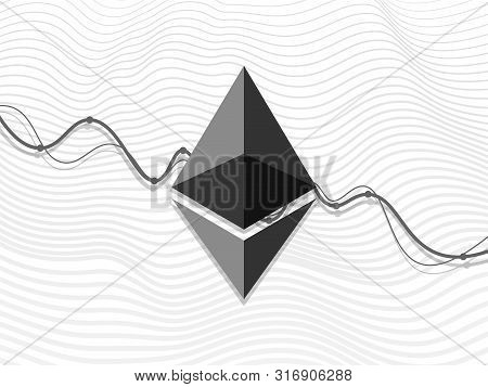 Etheric Sign On Descending Chart. Electronic Money. Financial Banking Symbol. Crypto Currency Icon