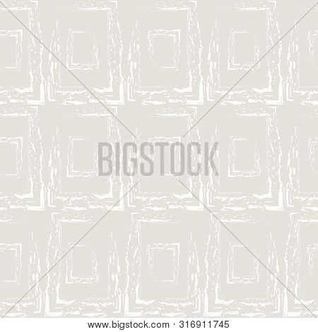 White Hand Drawn Grunge Rectangle Shapes Made With Digital Brush. Abstract Geometric Seamless Vector