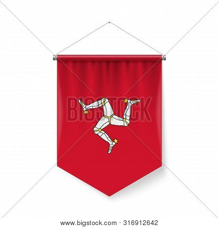 Vertical Pennant Flag Of Isle Of Man As Icon On White With Shadow Effects. Patriotic Sign In Officia
