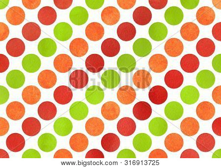 Watercolor Red, Green And Orange Polka Dot Background. Pattern With Polka Dots For Scrapbooks, Weddi