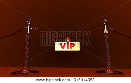 3d Rendering Of Golden Vip Withe Crown, Royal Gold Vip Crown, A Velvet Rope Barrier, With A Vip Sign