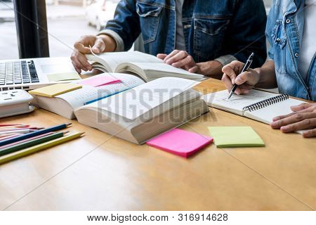 Education, Teaching, Learning, Technology And People Concept. Two High School Students Or Classmates