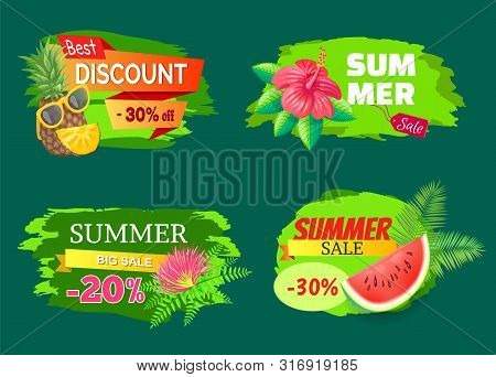 Best Discount 30 Percent Banners Vector. Tropical Flowers And Watermelon, Propositions And Selling O