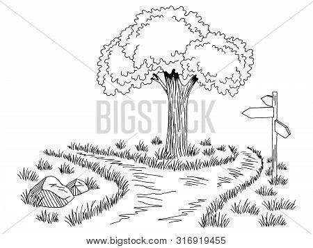 Crossroad Footpath Graphic Black White Landscape Sketch Illustration Vector
