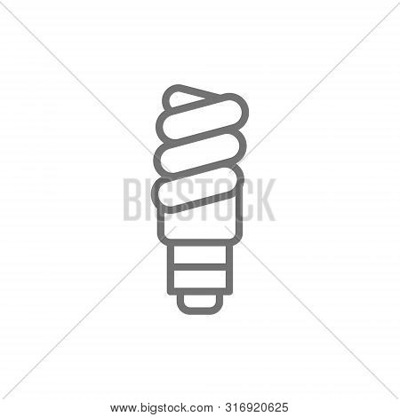 Energy Saving Lamp, Utilization Of Light Bulb Line Icon.