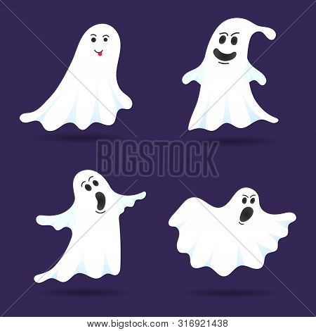 4 Cute Ghost Characters Flat Style Design Vector Illustration Set Isolated On Dark Background. Hallo