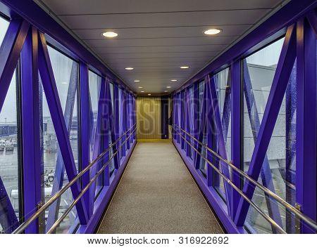Tokyo, Japan - Mar 16, 2018. Corridor Inside The Telescopic Gangway At Tokyo Narita Airport (nrt). N