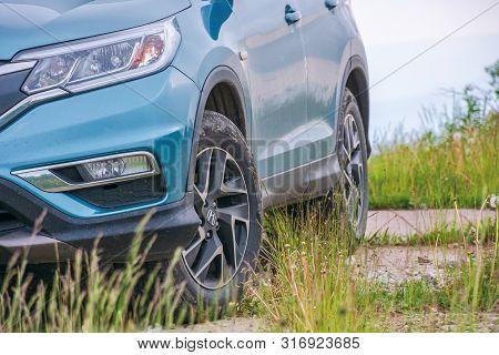Mnt. Runa, Ukraine - Jun 22, 2019: Honda Cr-v Suv On A Paved Platform In Mountains. Popular Family V