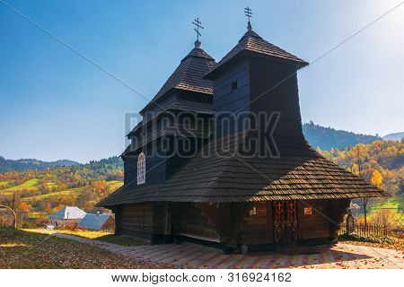 Uzhok, Ukraine - Oct 18, 2018: Church Of The Archangel Michael - Unesco World Heritage. Old Wooden B