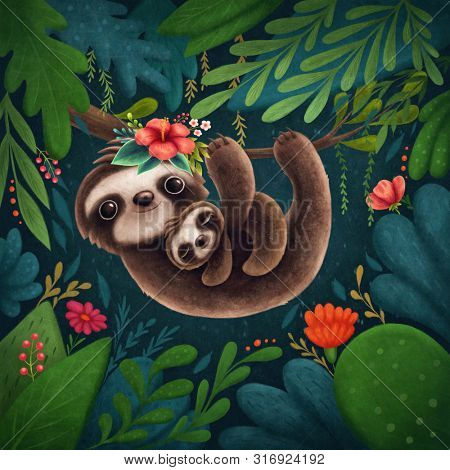 Illustration of a cute sloths