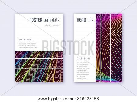 Geometric cover design template set. Rainbow abstract lines on wine red background. Bizarre cover design. Glamorous catalog, poster, book template etc. poster