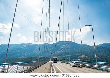 Hardanger Bridge. Hardangerbrua Connecting Two Sides Of Hardangerfjorden. Norway Hardangerfjord Hard