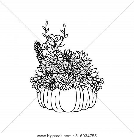 Thanksgiving Pumpkin And Autumn Flowers Centerpiece. Agonis And Willow Eucaliptus, Cotton Flower And