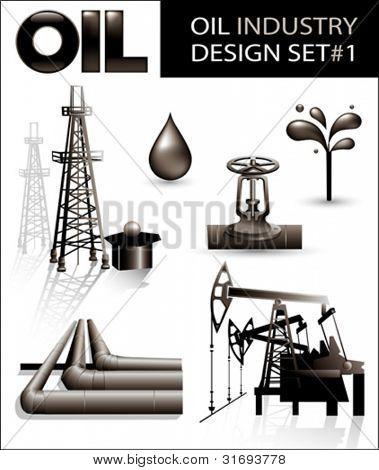 Design-set der Öl-Industrie-Vektor-Bilder (1).