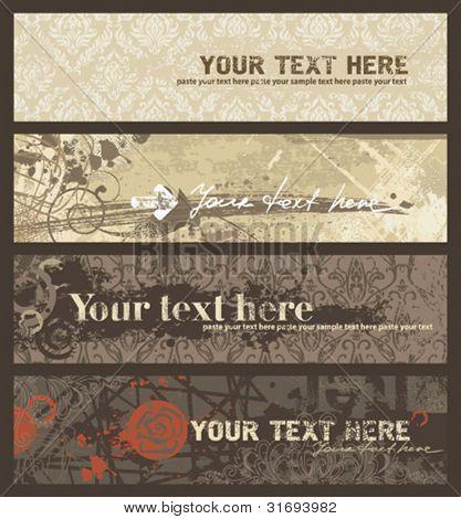 Grunge banners set. Vector illustration.