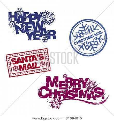 Christmas greetings in rubber stamp style. Vector set.