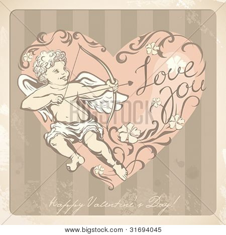 Vintage Valentine's card with cupid. Vector illustration.