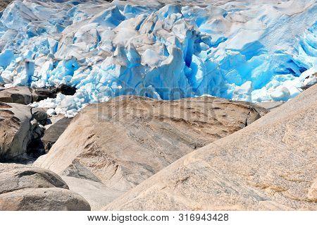 Amazing Ice Blocks Of Nigardsbreen Glacier