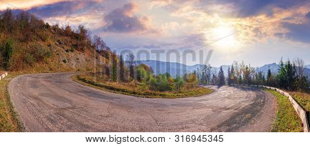 Panorama Of A Serpentine Road In Mountains.  Beautiful Autumn Scenery In Morning Light. Wonderful Se