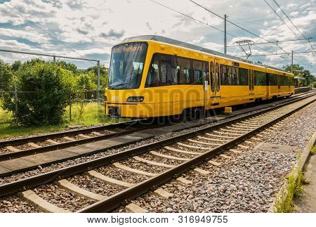 Stuttgart,germany - August 09,2019:vaihinger Strasse This Is The Tram Line U8 Of Ssb,which Drives Fr