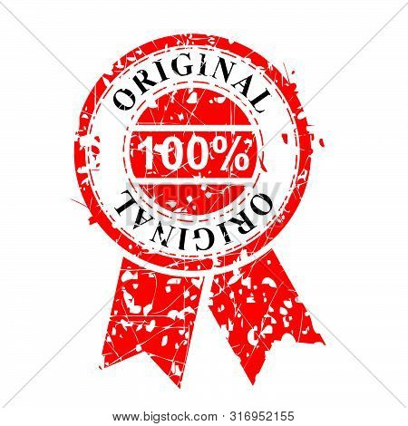Vector, Circle Streak Red Rubber Stamp, 100 Percent Original, Isolated On White.