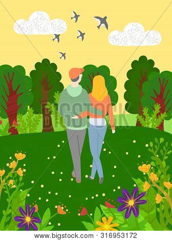 Back View Of Hugging People Walking In Forest With Green Trees And Blooming Flowers. Vector Embracin