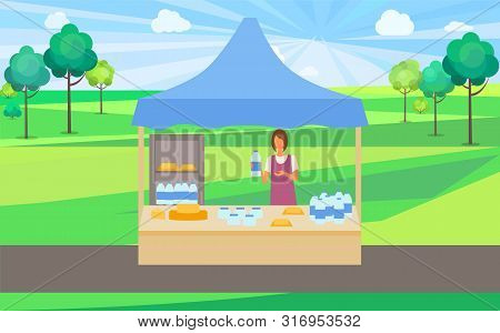 Store In Park Summer Fair With Organic Production Sale Vector, Salesperson Selling Milk And Cheese.