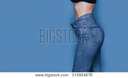 Skinny Woman Body With Loose Pants Jeans, Light Weight Body With Loose Clothes, Slender And Healthy