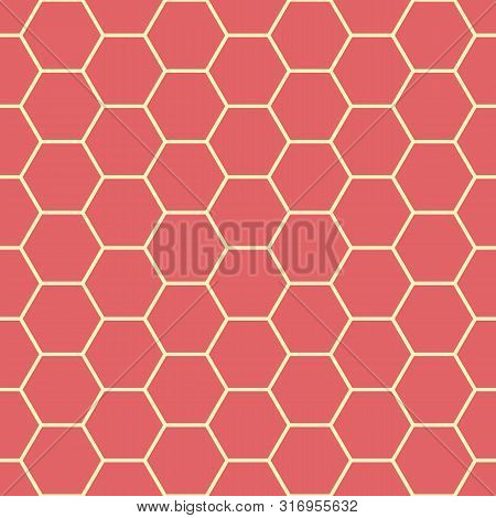 Vibrant Coral Red And Yellow Honeycomb Design. Seamless Vector Pattern. Great For Wellbeing, Spa, He