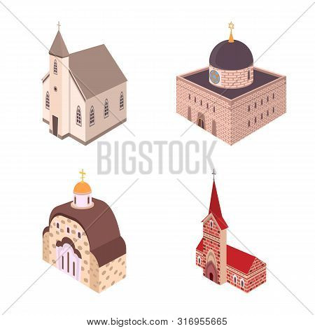 Isolated Object Of Architecture And Building Logo. Collection Of Architecture And Clergy Stock Symbo