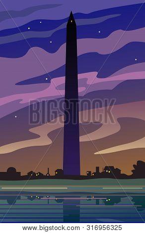 Washington Monument At Dusk, Twilight Landscape Illustration