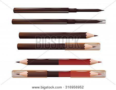 Set Of Cosmetic Liners, For Brows, Eyes And Lips.